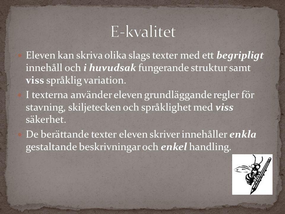 Eleven kan skriva olika slags texter med ett begripligt innehåll och i huvudsak fungerande struktur samt viss språklig variation. I texterna använder