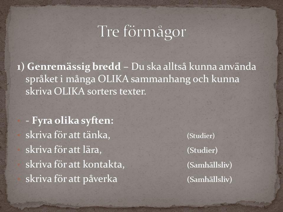 1) Genremässig bredd – Du ska alltså kunna använda språket i många OLIKA sammanhang och kunna skriva OLIKA sorters texter. - Fyra olika syften: skriva