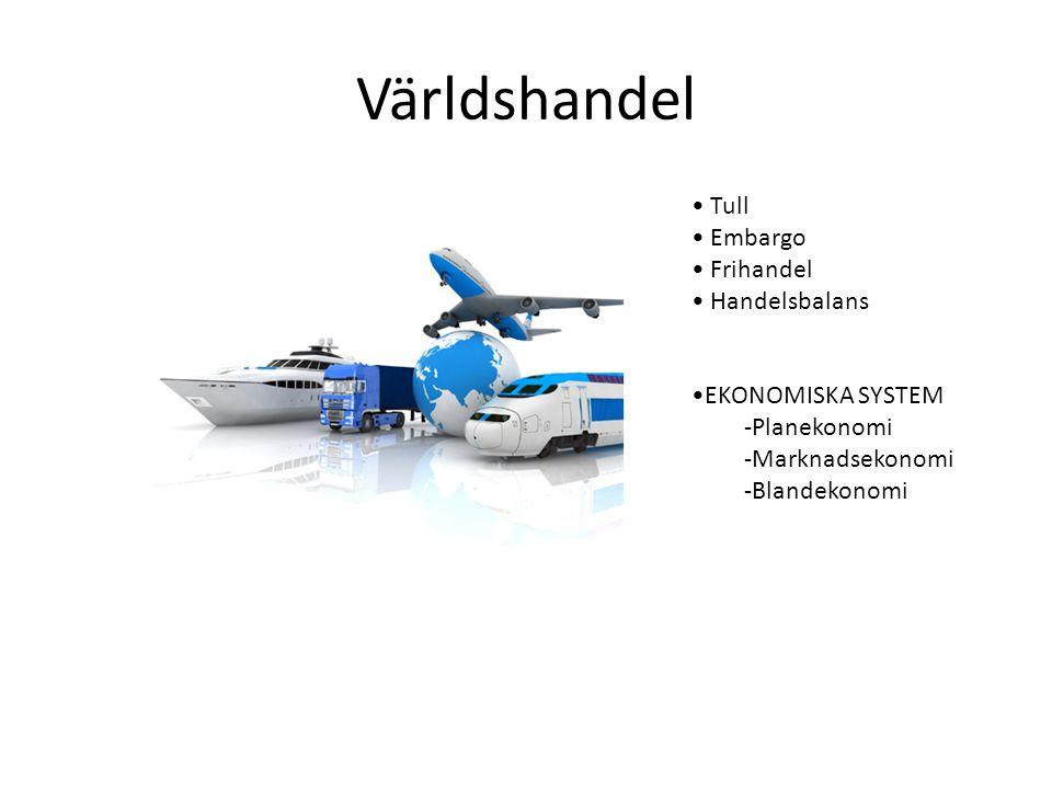 Världshandel Tull Embargo Frihandel Handelsbalans EKONOMISKA SYSTEM -Planekonomi -Marknadsekonomi -Blandekonomi