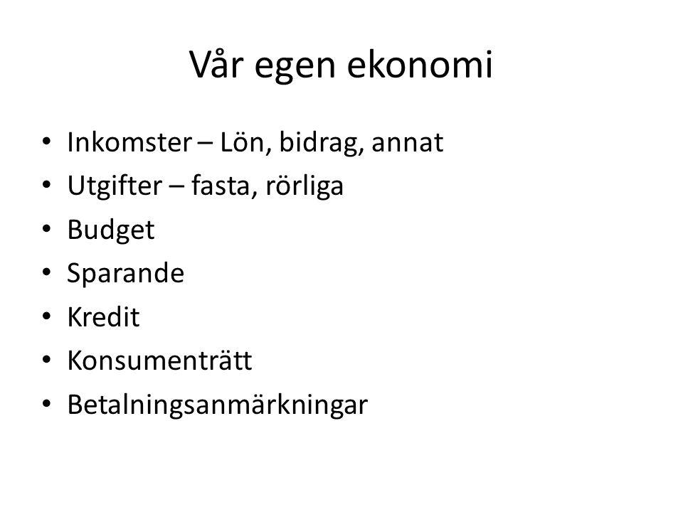 Vår egen ekonomi Inkomster – Lön, bidrag, annat Utgifter – fasta, rörliga Budget Sparande Kredit Konsumenträtt Betalningsanmärkningar