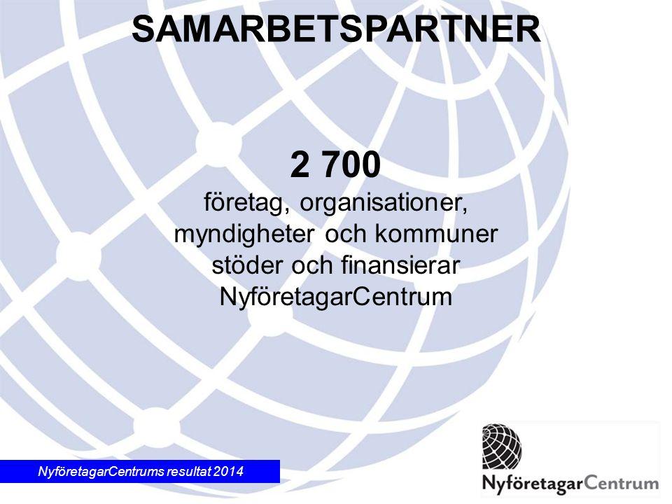 NyföretagarCentrums resultat 2014 2 700 företag, organisationer, myndigheter och kommuner stöder och finansierar NyföretagarCentrum SAMARBETSPARTNER