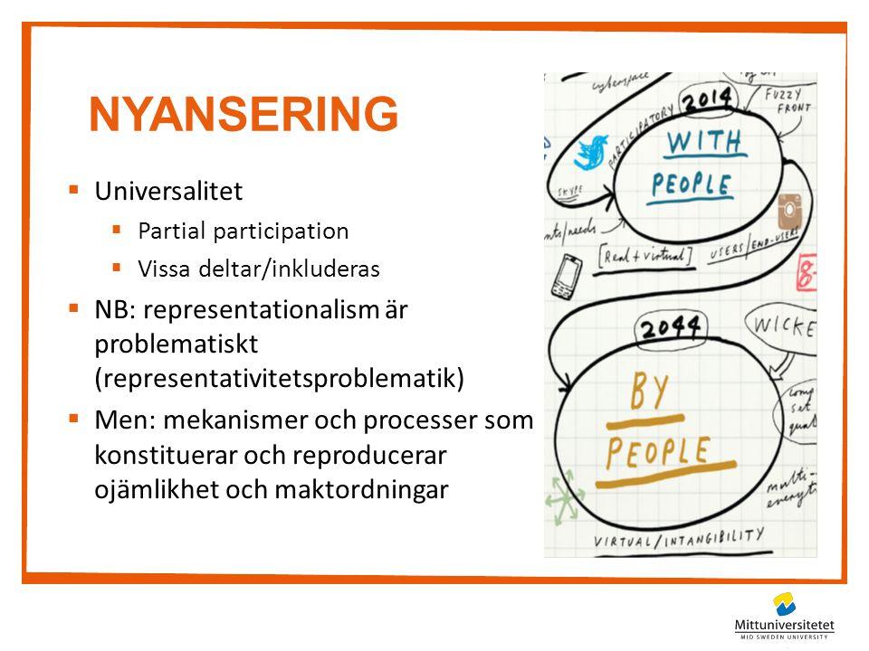 NYANSERING  Universalitet  Partial participation  Vissa deltar/inkluderas  NB: representationalism är problematiskt (representativitetsproblematik