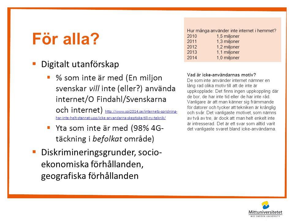 För alla?  Digitalt utanförskap  % som inte är med (En miljon svenskar vill inte (eller?) använda internet/O Findahl/Svenskarna och internet) http:/