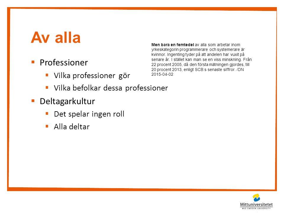 Av alla  Professioner  Vilka professioner gör  Vilka befolkar dessa professioner  Deltagarkultur  Det spelar ingen roll  Alla deltar Men bara en femtedel av alla som arbetar inom yrkeskategorin programmerare och systemerare är kvinnor.