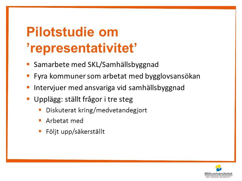 Pilotstudie om 'representativitet'  Samarbete med SKL/Samhällsbyggnad  Fyra kommuner som arbetat med bygglovsansökan  Intervjuer med ansvariga vid