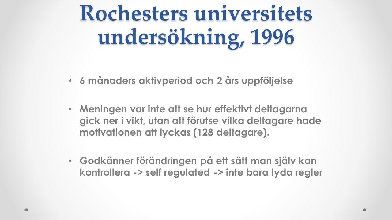 Rochesters universitets undersökning, 1996 6 månaders aktivperiod och 2 års uppföljelse Meningen var inte att se hur effektivt deltagarna gick ner i v