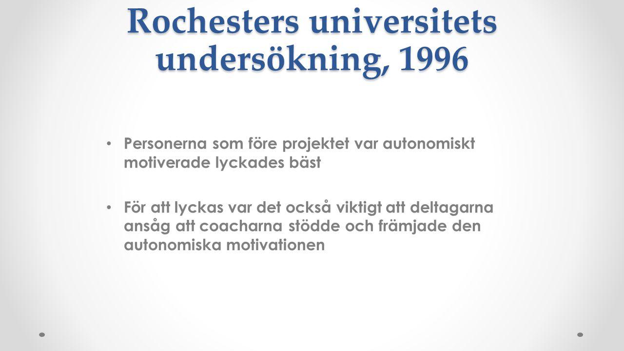 Rochesters universitets undersökning, 1996 Personerna som före projektet var autonomiskt motiverade lyckades bäst För att lyckas var det också viktigt