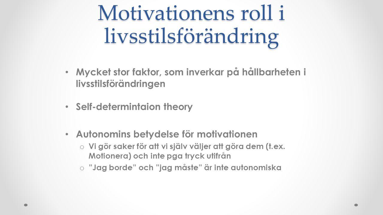 Motivationens roll i livsstilsförändring Mycket stor faktor, som inverkar på hållbarheten i livsstilsförändringen Self-determintaion theory Autonomins