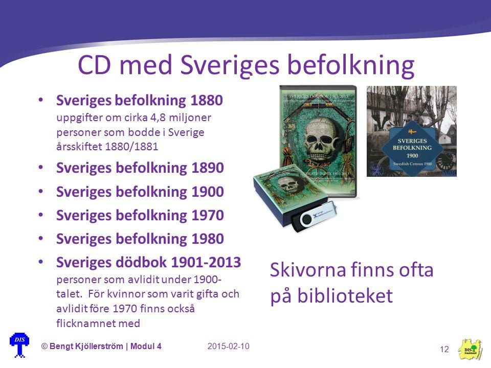 CD med Sveriges befolkning © Bengt Kjöllerström | Modul 42015-02-10 12 Sveriges befolkning 1880 uppgifter om cirka 4,8 miljoner personer som bodde i S