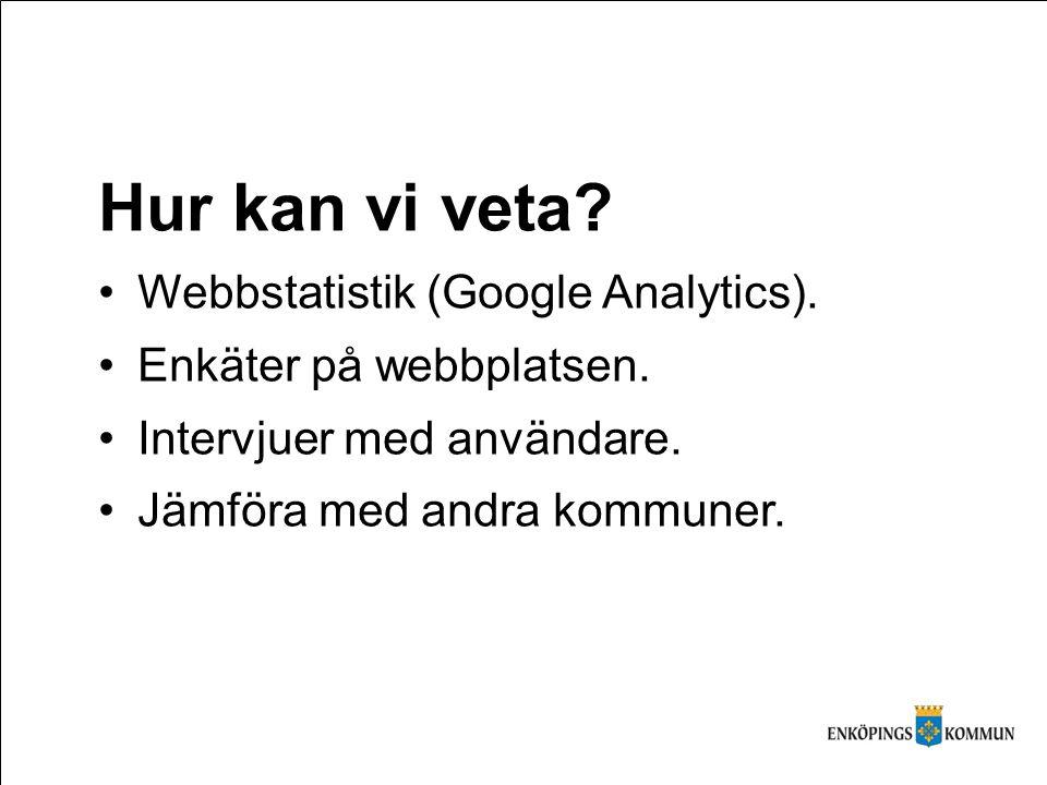 Hur kan vi veta. Webbstatistik (Google Analytics).