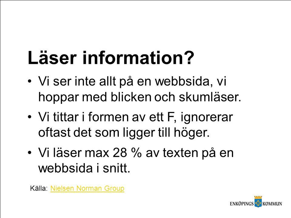 Läser information.Vi ser inte allt på en webbsida, vi hoppar med blicken och skumläser.