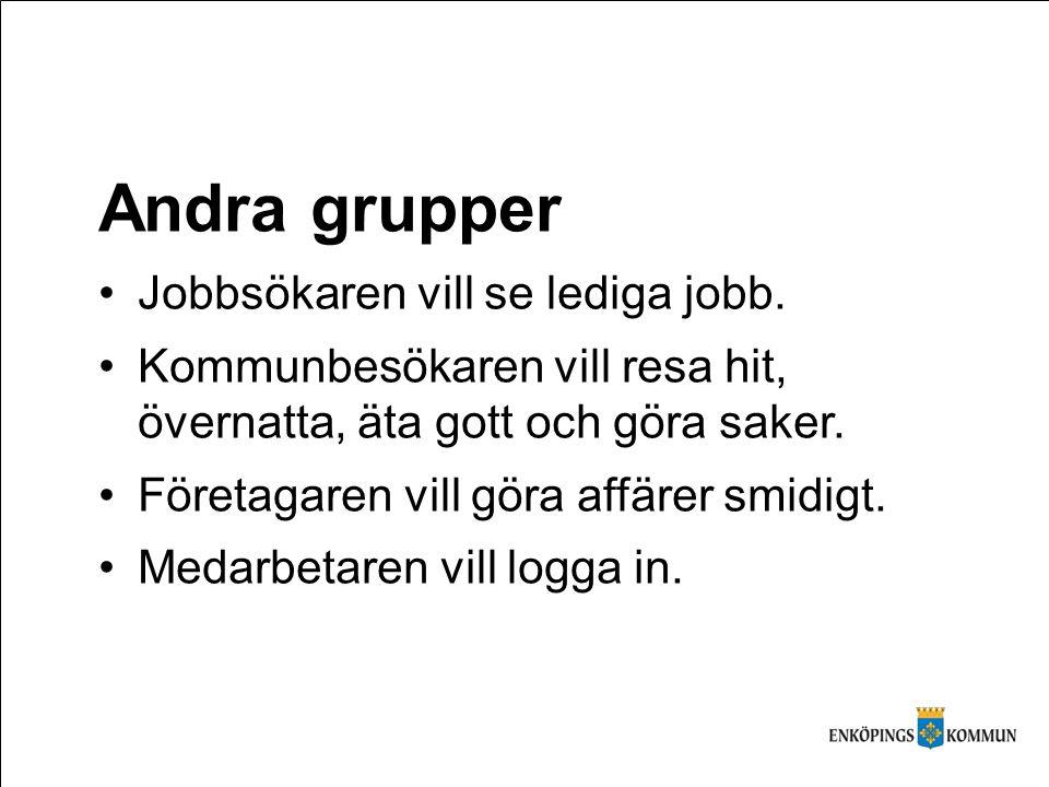 Andra grupper Jobbsökaren vill se lediga jobb.