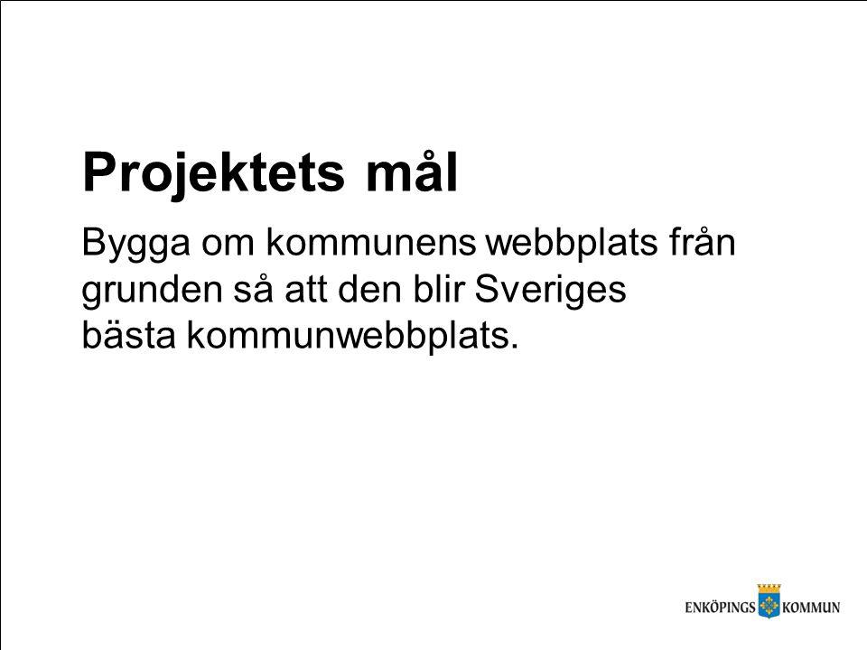 Projektets mål Bygga om kommunens webbplats från grunden så att den blir Sveriges bästa kommunwebbplats.