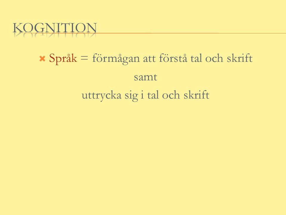  Språk = förmågan att förstå tal och skrift samt uttrycka sig i tal och skrift