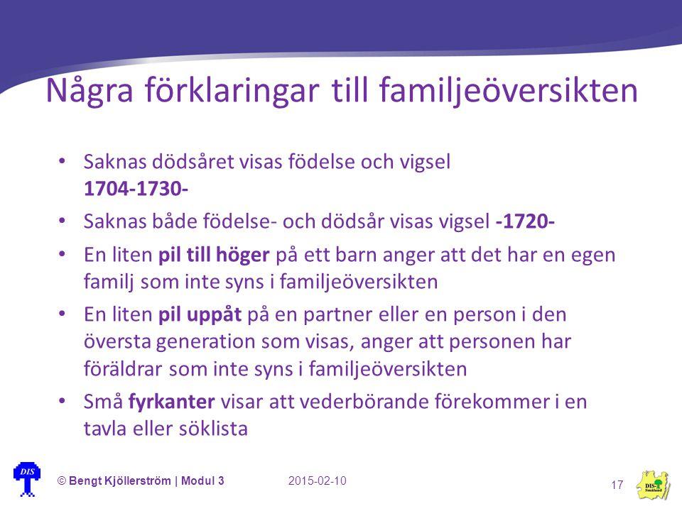 Några förklaringar till familjeöversikten © Bengt Kjöllerström | Modul 32015-02-10 17 Saknas dödsåret visas födelse och vigsel 1704-1730- Saknas både