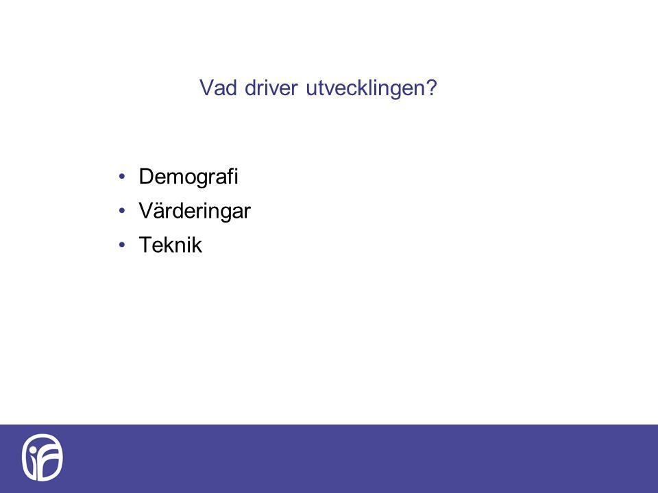 Vad driver utvecklingen? Demografi Värderingar Teknik
