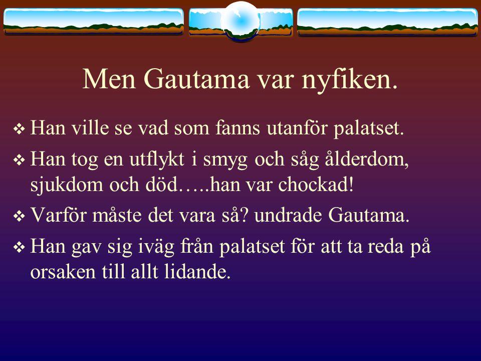 Men Gautama var nyfiken.  Han ville se vad som fanns utanför palatset.  Han tog en utflykt i smyg och såg ålderdom, sjukdom och död…..han var chocka