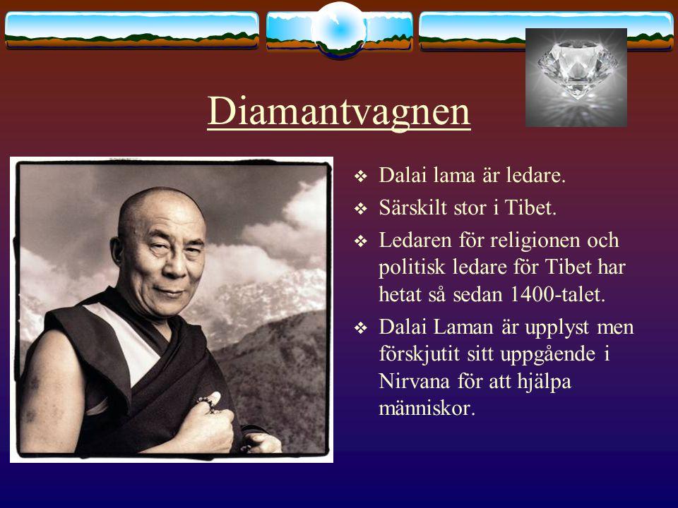 Diamantvagnen  Dalai lama är ledare.  Särskilt stor i Tibet.  Ledaren för religionen och politisk ledare för Tibet har hetat så sedan 1400-talet. 