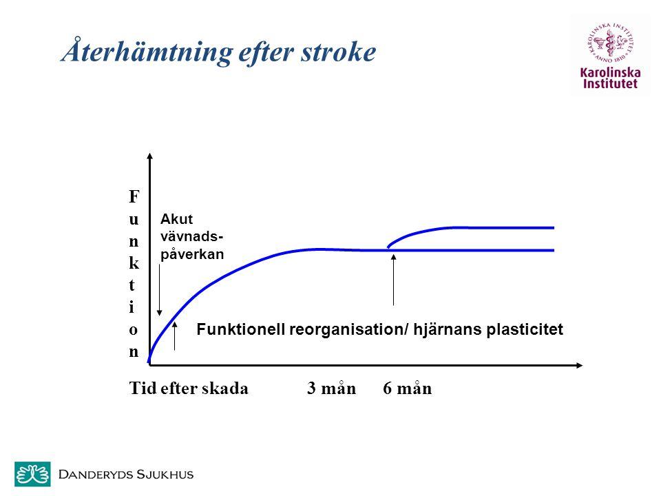 SMA Funktion Funktion Funktionell reorganisation/ hjärnans plasticitet Tid efter skada 3 mån 6 mån Återhämtning efter stroke Akut vävnads- påverkan