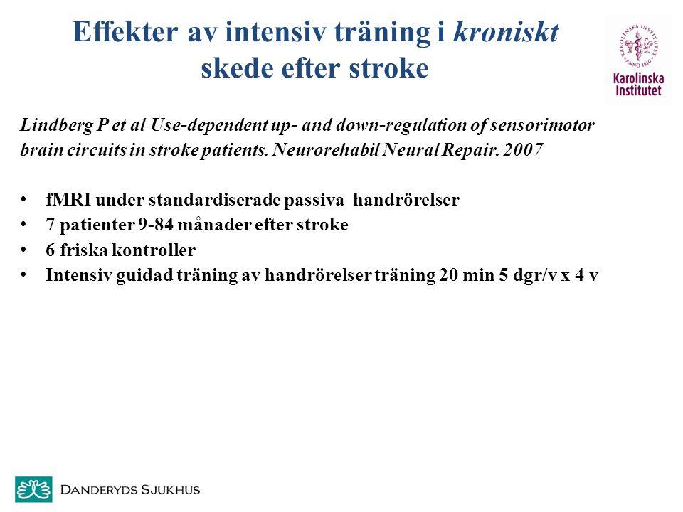 Effekter av intensiv träning i kroniskt skede efter stroke Lindberg P et al Use-dependent up- and down-regulation of sensorimotor brain circuits in st