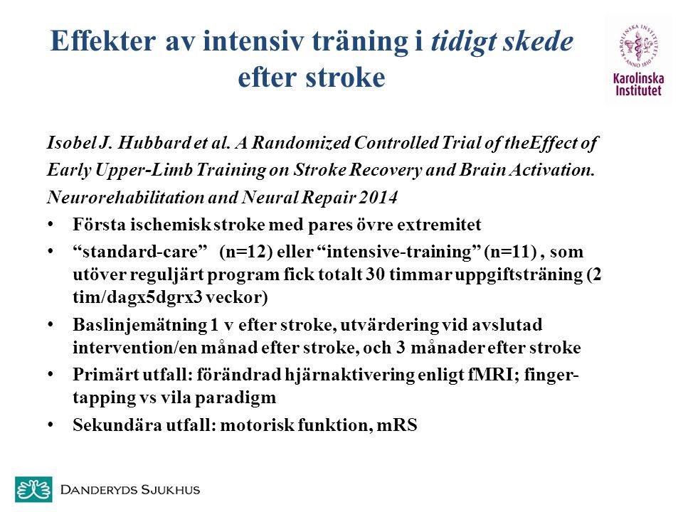 Effekter av intensiv träning i tidigt skede efter stroke Isobel J. Hubbard et al. A Randomized Controlled Trial of theEffect of Early Upper-Limb Train