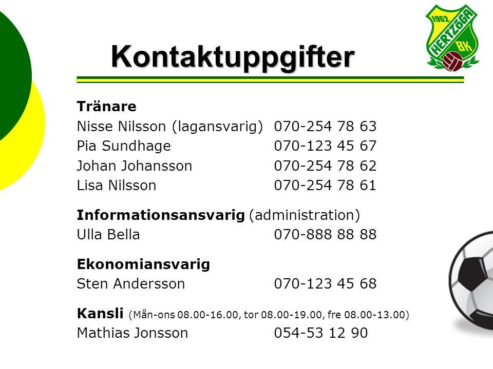 Kontaktuppgifter Tränare Nisse Nilsson (lagansvarig) 070-254 78 63 Pia Sundhage070-123 45 67 Johan Johansson070-254 78 62 Lisa Nilsson070-254 78 61 In