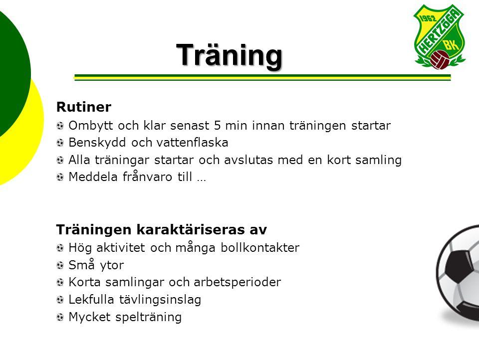 Träning Rutiner Ombytt och klar senast 5 min innan träningen startar Benskydd och vattenflaska Alla träningar startar och avslutas med en kort samling