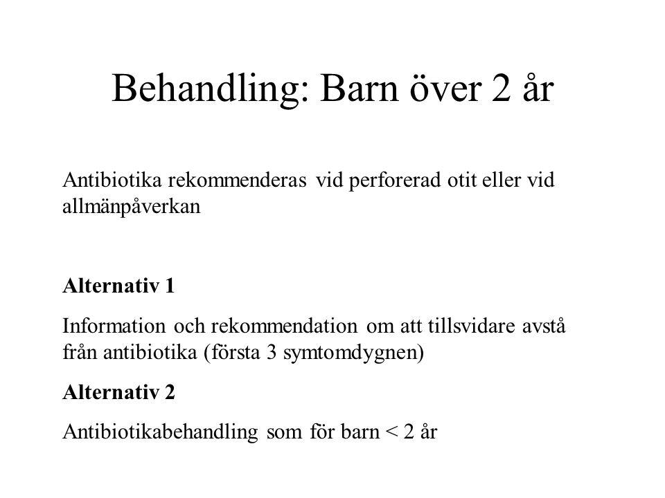 Behandling: Barn över 2 år Antibiotika rekommenderas vid perforerad otit eller vid allmänpåverkan Alternativ 1 Information och rekommendation om att t