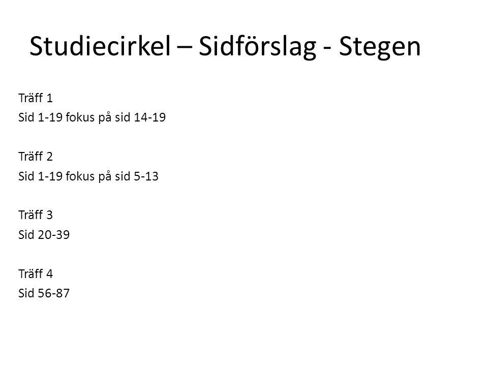 Studiecirkel – Sidförslag - Stegen Träff 1 Sid 1-19 fokus på sid 14-19 Träff 2 Sid 1-19 fokus på sid 5-13 Träff 3 Sid 20-39 Träff 4 Sid 56-87