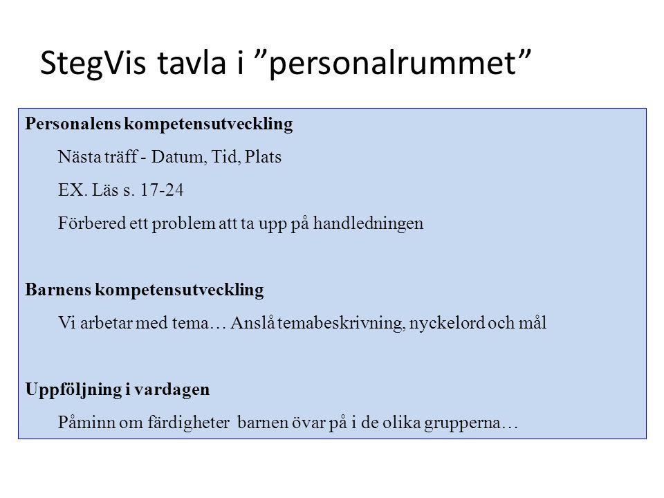 """StegVis tavla i """"personalrummet"""" Personalens kompetensutveckling Nästa träff - Datum, Tid, Plats EX. Läs s. 17-24 Förbered ett problem att ta upp på h"""