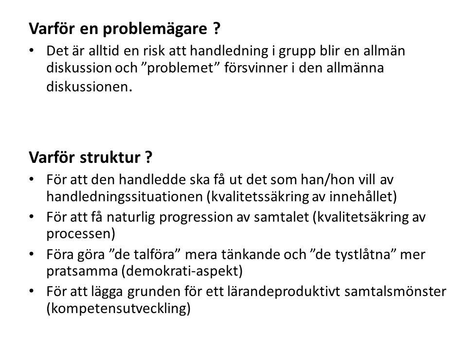 """Varför en problemägare ? Det är alltid en risk att handledning i grupp blir en allmän diskussion och """"problemet"""" försvinner i den allmänna diskussione"""