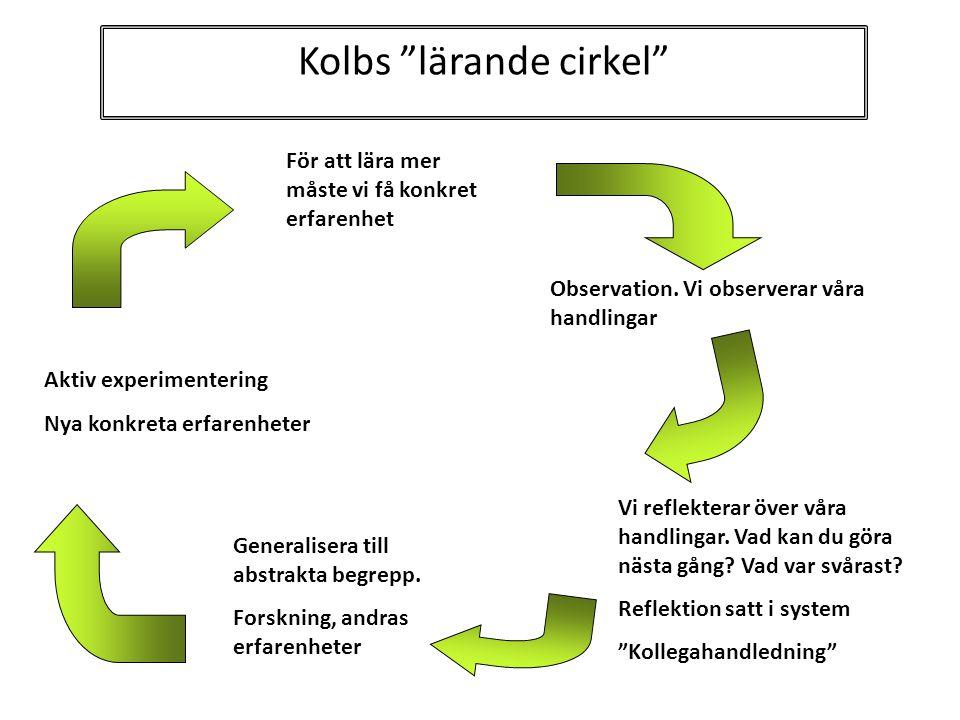 """Kolbs """"lärande cirkel"""" Aktiv experimentering Nya konkreta erfarenheter För att lära mer måste vi få konkret erfarenhet Observation. Vi observerar våra"""
