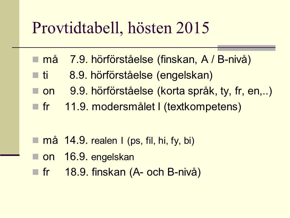 Provtidtabell, hösten 2015 må 7.9. hörförståelse (finskan, A / B-nivå) ti 8.9.