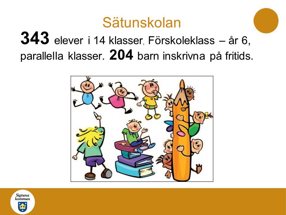 Sätunskolan 343 elever i 14 klasser, Förskoleklass – år 6, parallella klasser. 204 barn inskrivna på fritids.