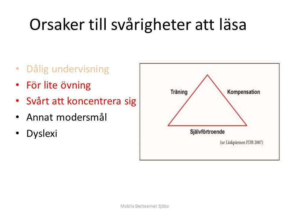 Orsaker till svårigheter att läsa Dålig undervisning För lite övning Svårt att koncentrera sig Annat modersmål Dyslexi Mobila Skolteamet Sjöbo