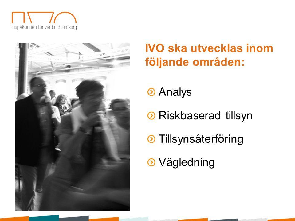 IVO:s iakttagelser jämfördes med andra IVO:s data och rapporter En inventering genom workshops Olika myndigheters rapporter Landstingens samt kommuners revisionsrapporter Uppgifter från patientnämnderna Patientförsäkringen LÖF:s skadestatistik Information från relevanta patient- och anhörigorganisationer samt fackförbund Ett antal internationella rapporter