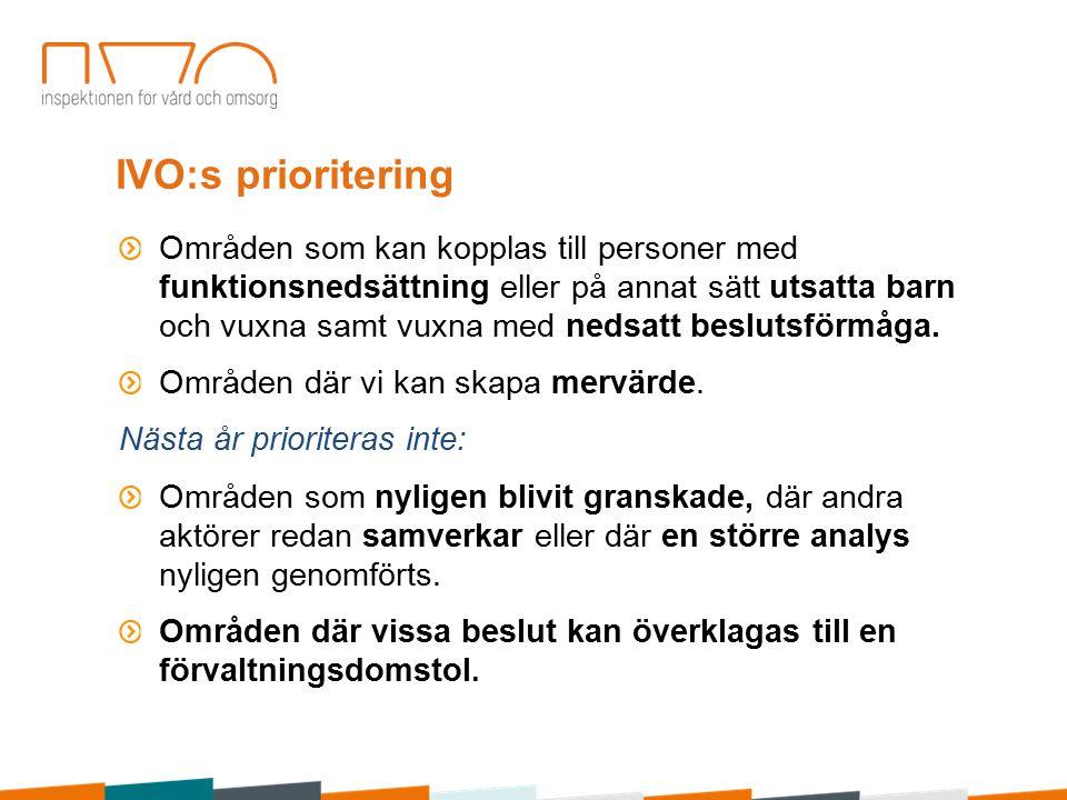 IVO:s prioritering Områden som kan kopplas till personer med funktionsnedsättning eller på annat sätt utsatta barn och vuxna samt vuxna med nedsatt beslutsförmåga.