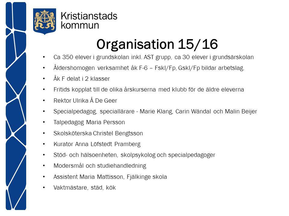 Organisation 15/16 Ca 350 elever i grundskolan inkl. AST grupp, ca 30 elever i grundsärskolan Åldershomogen verksamhet åk F-6 – Fskl/Fp, Gskl/Fp bilda