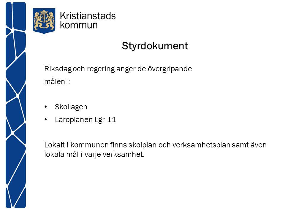 Styrdokument Riksdag och regering anger de övergripande målen i: Skollagen Läroplanen Lgr 11 Lokalt i kommunen finns skolplan och verksamhetsplan samt
