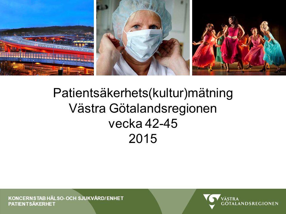 Patientsäkerhets(kultur)mätning Västra Götalandsregionen vecka 42-45 2015 KONCERNSTAB HÄLSO- OCH SJUKVÅRD/ ENHET PATIENTSÄKERHET