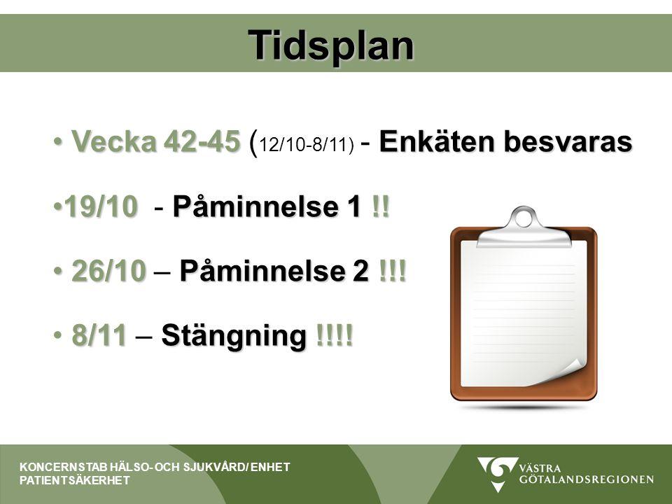 Tidsplan Vecka 42-45Enkäten besvaras Vecka 42-45 ( 12/10-8/11) - Enkäten besvaras 19/10Påminnelse 1 !!19/10 - Påminnelse 1 !! 26/10Påminnelse 2 !!! 26