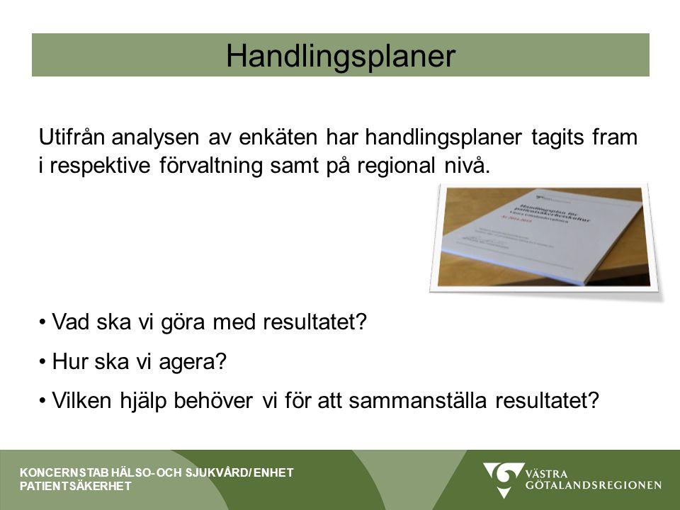 Handlingsplaner Utifrån analysen av enkäten har handlingsplaner tagits fram i respektive förvaltning samt på regional nivå. Vad ska vi göra med result