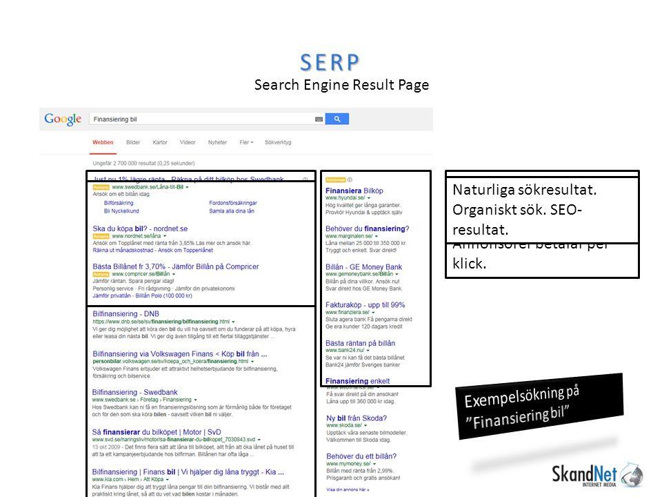 SEO och Sponsrade länkar AdWords AdWords Kostar per klick Synlighet direkt.