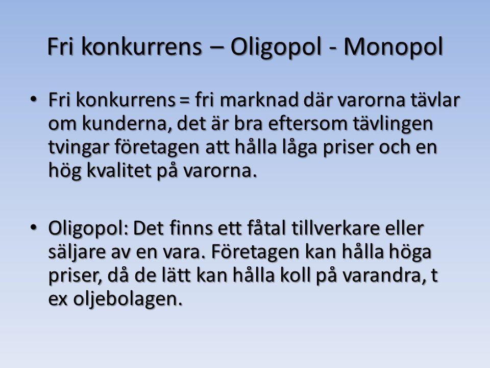 Fri konkurrens – Oligopol - Monopol Fri konkurrens = fri marknad där varorna tävlar om kunderna, det är bra eftersom tävlingen tvingar företagen att hålla låga priser och en hög kvalitet på varorna.