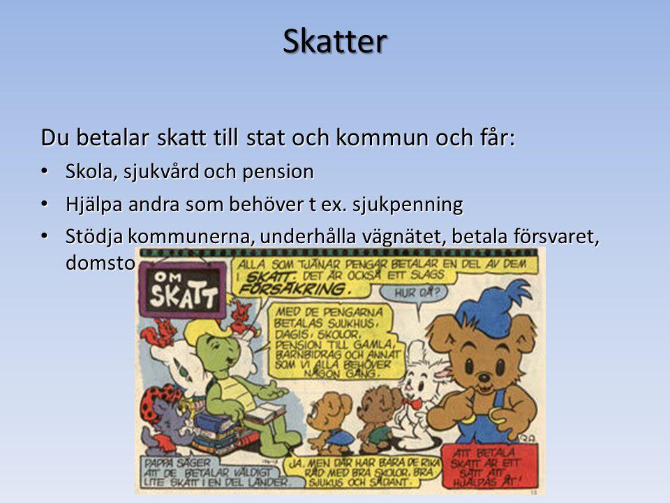 Skatter Du betalar skatt till stat och kommun och får: Skola, sjukvård och pension Skola, sjukvård och pension Hjälpa andra som behöver t ex.