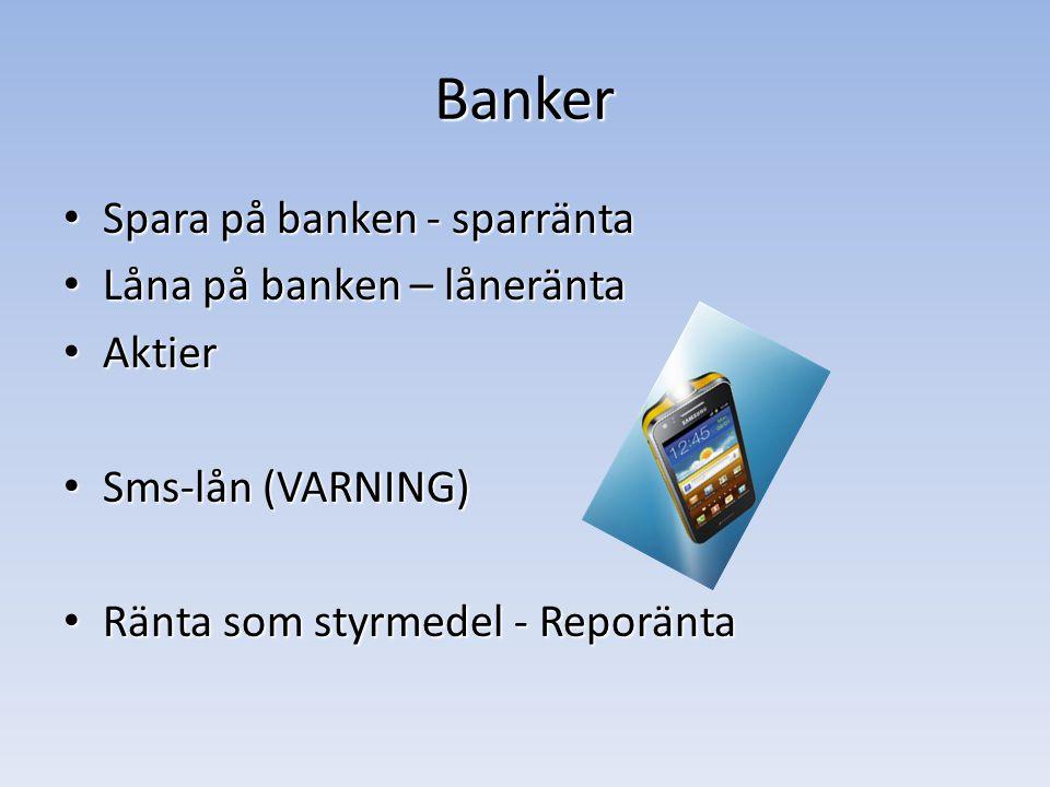 Banker Spara på banken - sparränta Spara på banken - sparränta Låna på banken – låneränta Låna på banken – låneränta Aktier Aktier Sms-lån (VARNING) Sms-lån (VARNING) Ränta som styrmedel - Reporänta Ränta som styrmedel - Reporänta