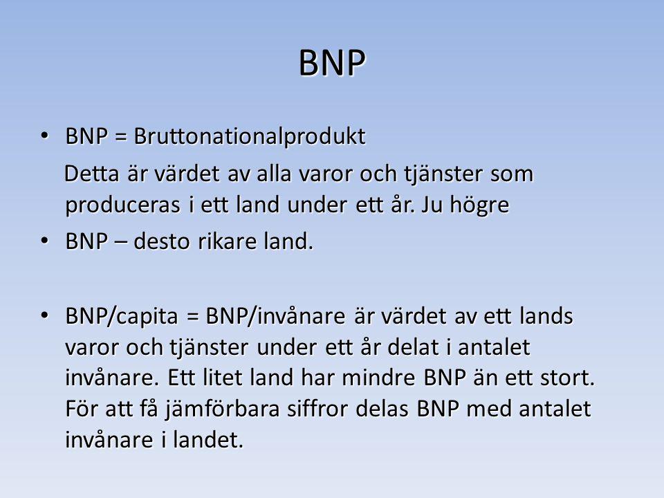 BNP BNP = Bruttonationalprodukt BNP = Bruttonationalprodukt Detta är värdet av alla varor och tjänster som produceras i ett land under ett år.
