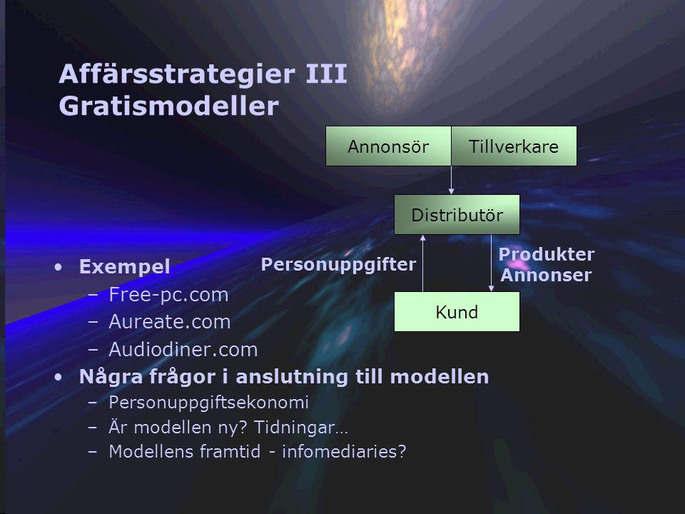 Affärsstrategier II - nya modeller för detaljhandeln Nollmarginalmarknaden Butiksmodellen Tillverkare Återförsäljare Kund Pris P Pris P + 20% On-line modellen (nollmarginalmarknad) Tillverkare Återförsäljare Kund Pris P Pris P + 0% Annonsör Annonsintäkt