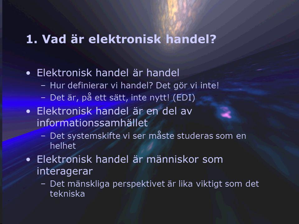 Fyra grundläggande frågor 1. Vad är elektronisk handel? 2. Var sker den elektroniska handeln? 3. Hur sker den elektroniska handeln? 4. Var är den elek
