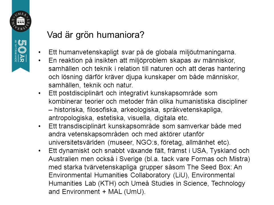 Kursen fungerar som en introduktion till grön humaniora och ger miljöhistoriska och filosofiska, arkeologiska, vetenskapshistoriska samt medievetenskapliga perspektiv på Kirunas historia och hanteringen av naturresurser i övre Norrland.